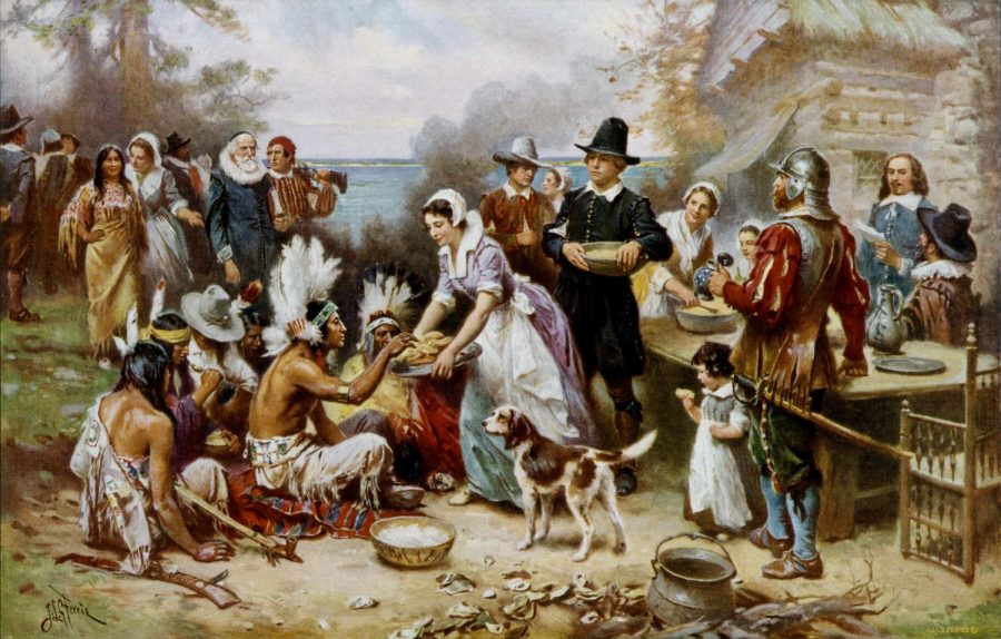The+First+Thanksgiving+1621%2C+oil+on+canvas+by+Jean+Leon+Gerome+Ferris+%281899%29.