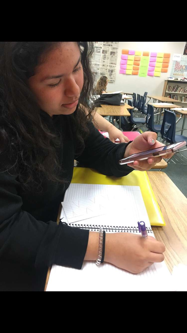 A student uses her cell phone during class