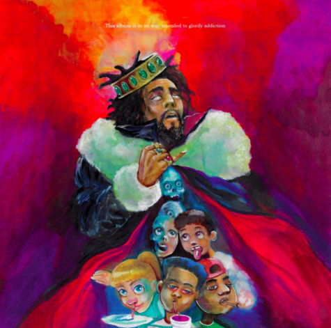 The cover features a painting of Cole dressed as a king with a cloak full of demons and children trying various substances.