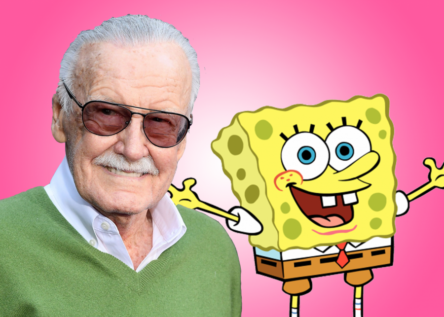 Stan+Lee+next+to+Steven+Hillenburg%27s+classic+character+Spongebob+Squarepants.