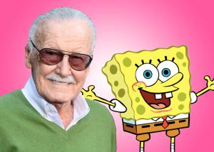 Stan Lee next to Steven Hillenburg's classic character Spongebob Squarepants.
