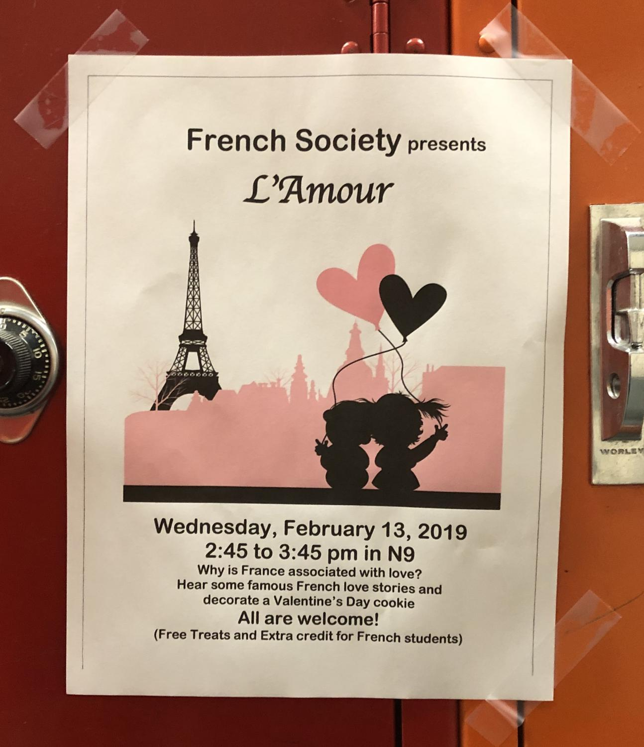 This thematic French Society flyer holds all the details for the meeting on Wednesday