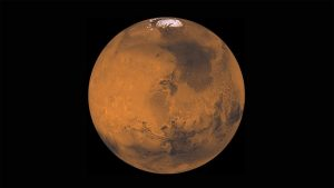 The planet Mars in the solar system.
