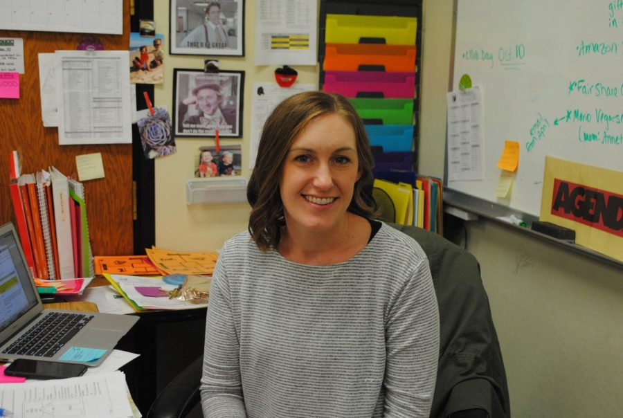Mrs. Magyar with her shining smile that she brings to class everyday